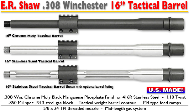 16-inch Tactical .308 Barrels