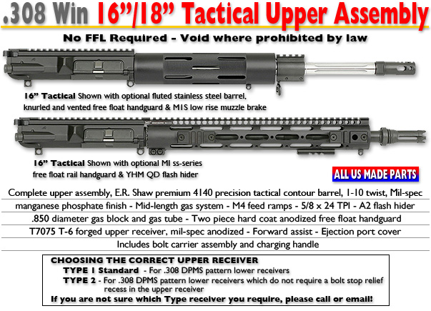 16 & 18-inch .308 Tactical Upper Assemblies